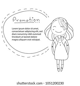 Smile girl cartoon character drawing for promotion sale tag. Happiness girl. Business concept.