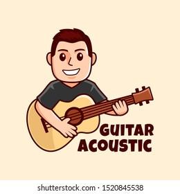 smile guitarist cartoon logo designs