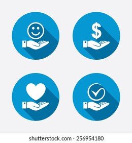Smile and hand icon. Heart and Tick or Check symbol. Palm holds Dollar currency sign. Circle concept web buttons. Vector