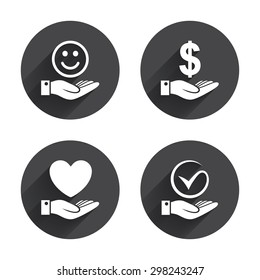 Smile and hand icon. Heart and Tick or Check symbol. Palm holds Dollar currency sign. Circles buttons with long flat shadow. Vector