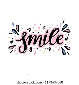 Smile Hand lettering word with handdrawn design elements