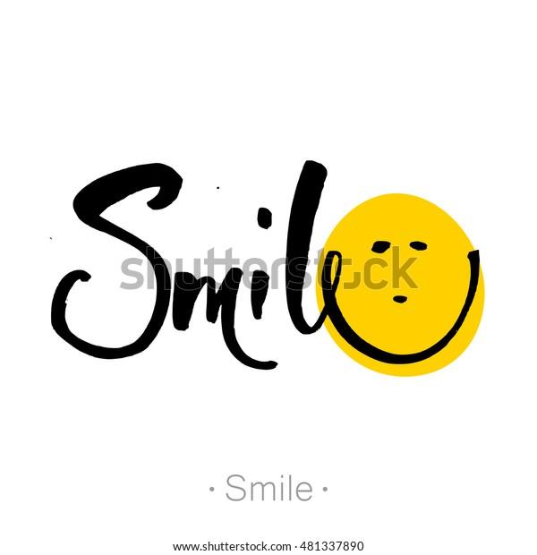 笑って 笑顔の手書きの文字 Tシャツの手書きの書画 スマイルフォントデザイン グラフィック 背景 ベクターイラスト のベクター画像素材 ロイヤリティフリー