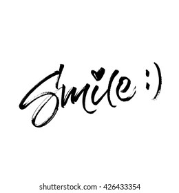 Smile handwritten brush lettering with halftone effect. Modern calligraphy isolated on white background.