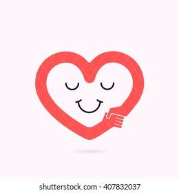 Smile heart shape and handshake symbol.Heart Care logo.Healthcare & Medical concept.Vector illustration