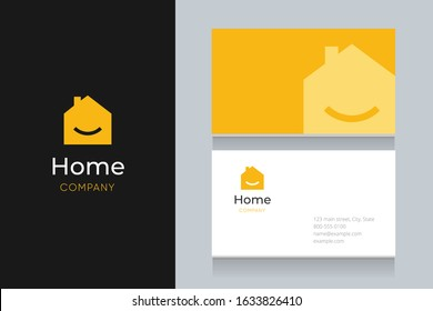Smile  house logo with business card template. Vector graphic design elements editable for company and entrepreneur.