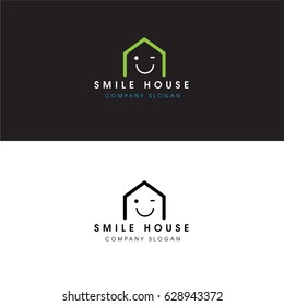 Smile House Logo Real Estate Design Elements and Home Icon
