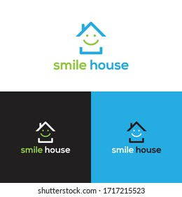 Smile House Minimalist Logo Real Estate Design Elements and Home Icon