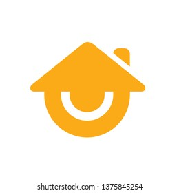 Smile house or smiling home logo, vector icon design, stay home flat vector sign