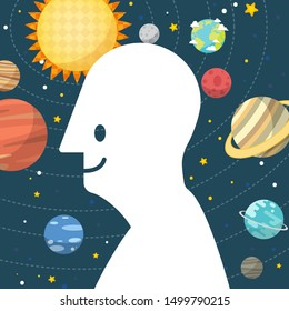 Smile human head shape on space  background.Man and space. Solar system planet and space element in universe. Vector illustration.