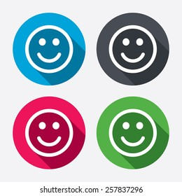 Smile icon. Happy face chat symbol. Circle buttons with long shadow. 4 icons set. Vector