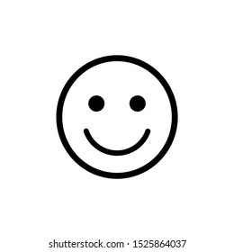 smile icon; happy face outline isolated on white background. vector illustration