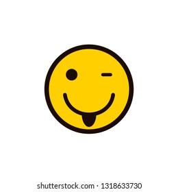 smile icon. Happy smiley face. Smiling Emoticon.  smile with tongue. Yellow vector symbol.