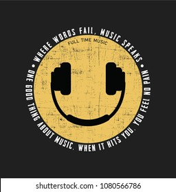 smile icon and headset, for t-shirt printing and various jobs, tee graphic design.