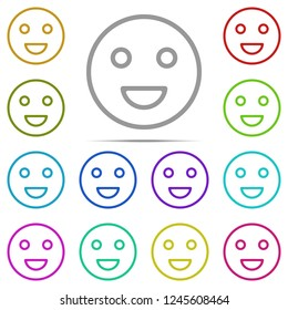 smile icon in multi color. Simple outline vector of web, minimalistic set for UI and UX, website or mobile application