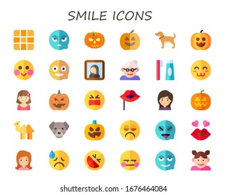 smile icon set. 30 flat smile icons. Included pixels, angry, pumpkin, dog, shy, happy, gioconda, grandmother, toothbrush, satisfied, girl, grief, lips, camel, sad, tease icons