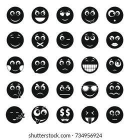 Smile icon set. Simple illustration of 50 smile vector icons for web