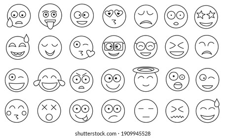 Smile icon set vector illustration in white background.