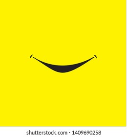 Smile icon template design. Smiling emoticon vector logo on yellow background. Face line art style