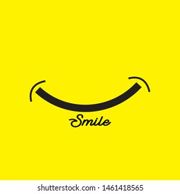 Smile icon template design. Smiling emoticon vector logo on yellow background. Face line art style - Vector
