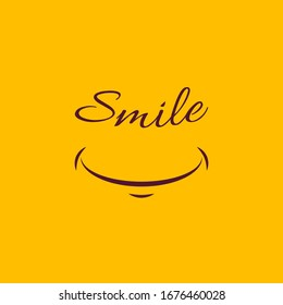 Smile icon template design.vector isolated logo illustration on yellow background. Face line art style.