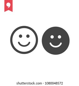 Smile icon vector. Happy symbol. Smile pictogram, flat vector sign isolated on white background. Smile vector illustration for graphic and web design.