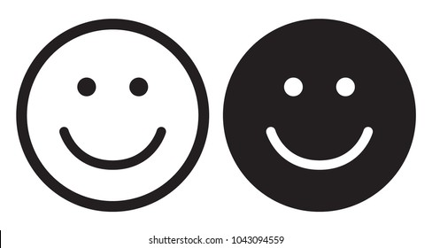 Smile icons. Happy face symbols. Flat style. Vector illustration.