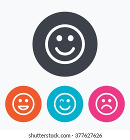 Smile icons. Happy, sad and wink faces symbol. Laughing lol smiley signs. Circle flat buttons with icon.