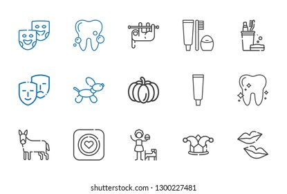 smile icons set. Collection of smile with kiss, joker, girl, condom, donkey, tooth, tooth paste, pumpkin, dog, comedy, toothbrush, sloth, theater masks. Editable and scalable smile icons.