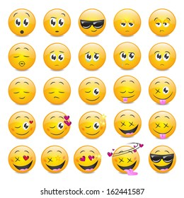Smile Icons Set - Isolated On White Background - Vector Illustration, Graphic Design Editable For Your Design