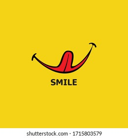 Smile logo in yellow background vector