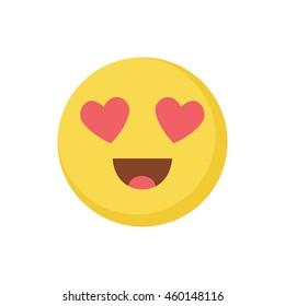 smile in love emoticon d icon hearts eyes emoji face design flat art image