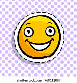 Smile in love emoticon. Happy smail in pop art style. Vector illustration.
