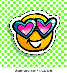 Smile in love emoticon. Happy smail in pink glasses in pop art style. Vector illustration.