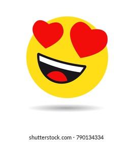 Smile in love emoticon icon, love hearts in eyes. Vector emoticon emoji flat heart in the eyes symbol
