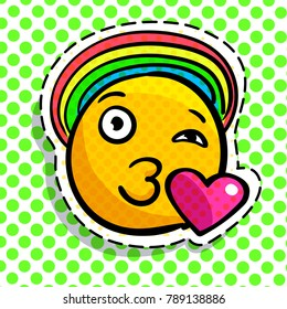 Smile in love emoticon with rainbow. Happy smail in pop art style. Vector illustration.