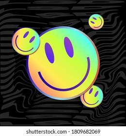 Smile. Lsd Smiley Face. Acid Style Sticker. Gradient Smile Sticker. Urban Style. Vector Illustration On Black Background