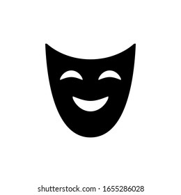 Smile mask vector icon on white background. Flat vector smile mask icon symbol sign from modern cinema collection for mobile concept and web apps design. Vector illustration. EPS10