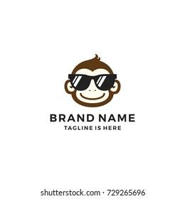 smile monkey chimp chimpanzee geek sunglasses logo template vector icon illustration