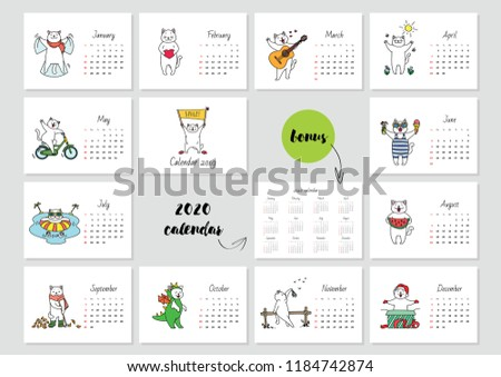 Smile Monthly Calendar 2019 Template Cute Stock Vector Royalty Free