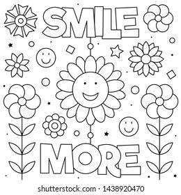 Smile more. Coloring page. Black and white vector illustration