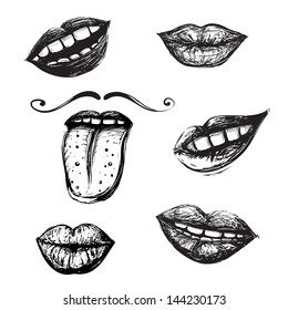 Smile and Mouth Drawing Collection. Inky mouth doodles set. Vector EPS8.