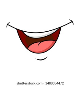 smile, mouth and tongue isolated cartoon design isolated on white background