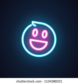 Smile neon icon. Happy emoji illumination symbol. Laughing emoticon expression of positive feelings. Label isolated on black. Element of interface or promotional items. Vector illustration