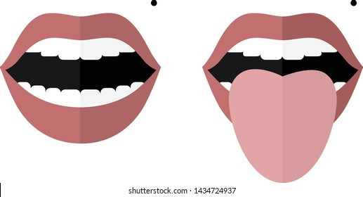 Smile with open mouth and a mole on the left cheek. Open mouth and tongue sticking out. Changes in color and appearance in diseases. Vector image. Flat design.