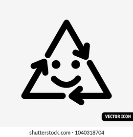 Smile Recycling symbol black and white icon.