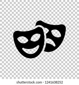 Smile and sad masks, comedy and drama theater, opposite emotions. Icon with happy and depressed faces. Black symbol on transparent background