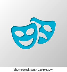 Smile and sad masks, comedy and drama theater, opposite emotions. Icon with happy and depressed faces. Paper design. Cutted symbol with shadow