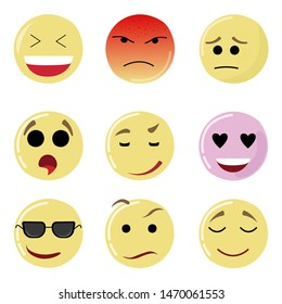 Smile set face, happy yellow emotion, emoticon expression. Vector emoji mood sad, facial happiness laugh, message social, network, chatting messaging emotional feedback, illustration smiley for chat