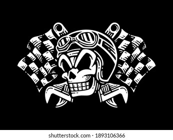 smile skull wearing of motorcycle helmet and checkered flags with a wrench crossed, vector illustration