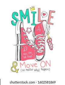 smile slogan with colorful sneakers illustration
